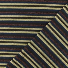 Tissu Jersey mousse rayé lurex - marron x 10cm