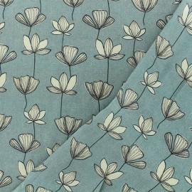 Viscose fabric - blue Gingko x 10cm