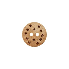 Round Wooden Button - Natural Star