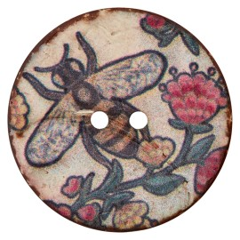 30 mm Coconut Wood Button - Beige The Bee