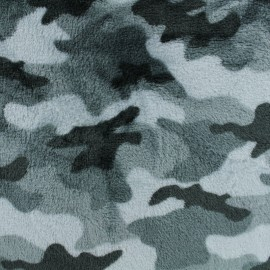 Flanell fleece fabric - camouflage - grey x 10cm