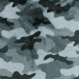 Tissu Doudou camouflage - gris x 10 cm