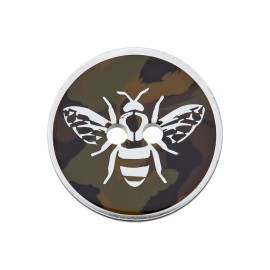 25 mm Polyester Button - Silver Bee