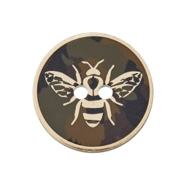 25 mm Polyester Button - Gold Bee