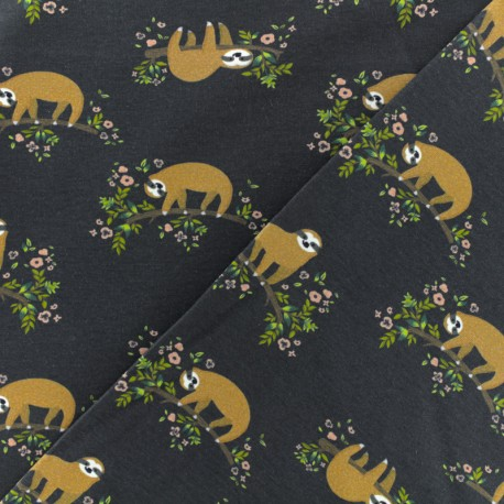 Jersey cotton fabric - blue grey sloth x 10 cm