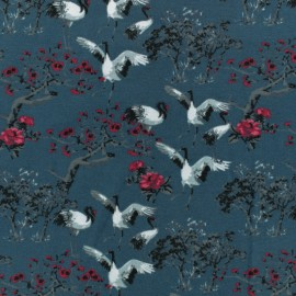 Jersey cotton fabric - blue Japan Birds x 10 cm