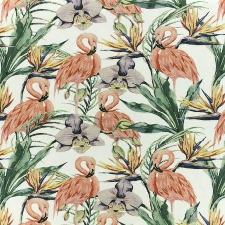 Tissu jersey Tropical flamingo - bleu x 10cm