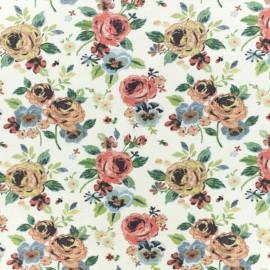 Jersey cotton fabric - beige vintage flowers x 10 cm