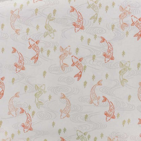 Makower UK cotton fabric Silent Robin - white x 10cm