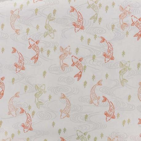 Tissu coton Makower UK Silent Robins - blanc x 10cm