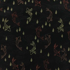 Makower UK cotton fabric - Black Kimono Koi x 10cm