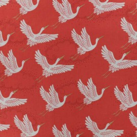 Makower UK cotton fabric - Red Kimono Cranes x 10cm