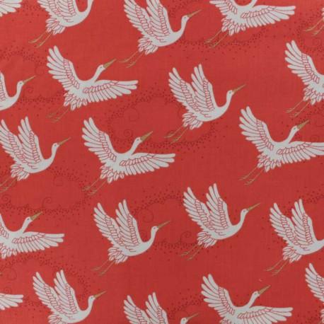 Tissu coton Makower UK Kimono Cranes - Rouge x 10cm
