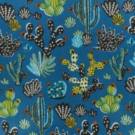 Cretonne cotton fabric - Blue Cactus x 10cm