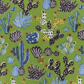 Tissu coton cretonne Cactus - Bleu x 10cm