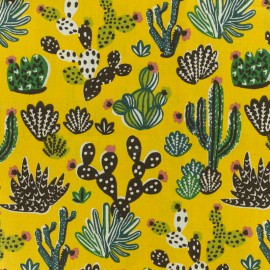 Tissu coton crétonne Cactus - Curry x 10cm