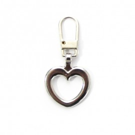 Metal Zipper Pull Tab - Nickel Pretty Heart