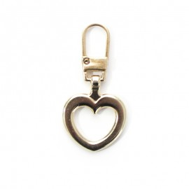 Metal Zipper Pull Tab - Gold Pretty Heart