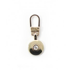 Metal Zipper Pull Tab - Gold Round Diamond