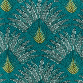 Cretonne cotton fabric - Emerald Madagascar x 10cm