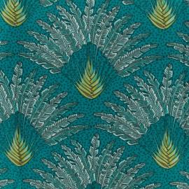 Cretonne cotton fabric - Emerald Madagascar x 10cm