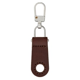 Faux Leather Zipper Pull Tab - Nickel/Brown Tek