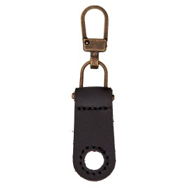 Faux Leather Zipper Pull Tab - Black Tek