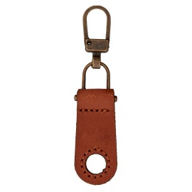 Faux Leather Zipper Pull Tab - Caramel Tek