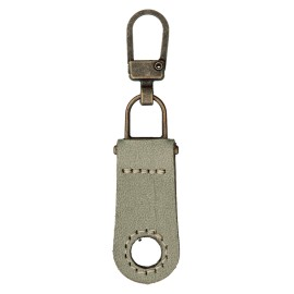 Faux Leather Zipper Pull Tab - Grey Tek