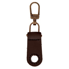 Faux Leather Zipper Pull Tab - Brown Tek