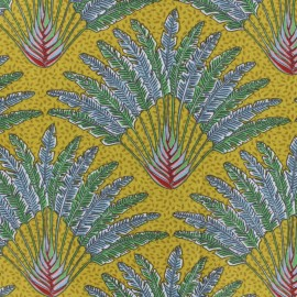 Cretonne cotton fabric - curry Madagascar x 10cm