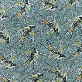 Cretonne cotton fabric - Blue Envol x 10cm
