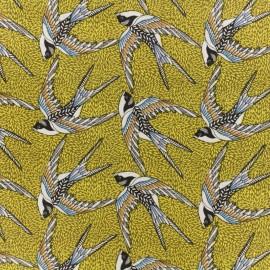 Tissu coton crétonne Envol - Jaune x 10cm