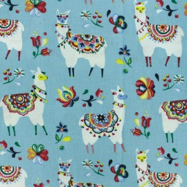 Cretonne cotton fabric - Blue Alpaga x 10cm