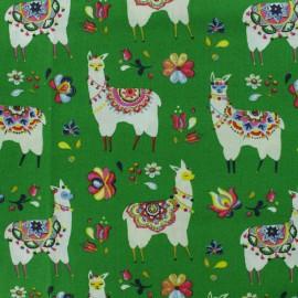 Tissu coton crétonne Alpaga - vert x 10cm