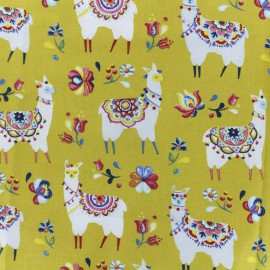 Cretonne cotton fabric - curry Alpaga x 10cm