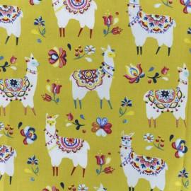 Tissu coton crétonne Alpaga - curry x 10cm