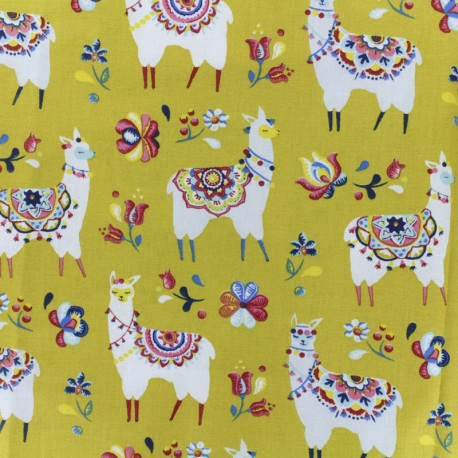 Cretonne cotton fabric - greeb Alpaga x 10cm