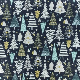 Cretonne cotton fabric - Blue/Silver Fairy x 10cm
