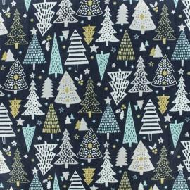 Tissu coton crétonne Féerie - Bleu/argent x 10cm