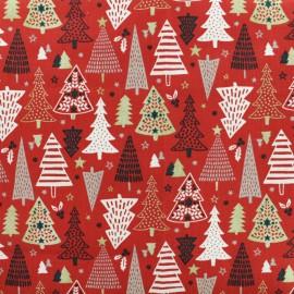 Tissu coton crétonne Féerie - Rouge/Or  x 10cm