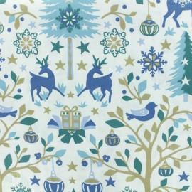 Tissu coton crétonne Laponie - Blanc/bleu x 10cm