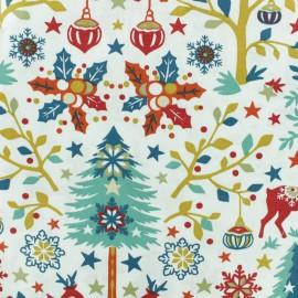 Tissu coton crétonne Laponie - Blanc/rouge x 10cm