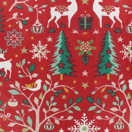 Tissu coton crétonne Laponie - rouge x 10cm