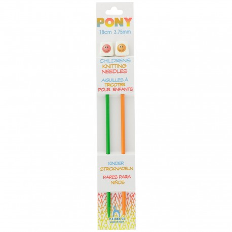 Pony Children Knitting Pins 18cm 3,75 mm - Smiley
