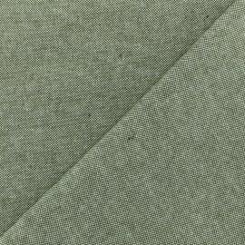 Tissu toile coton chambray - vert kaki x 10cm