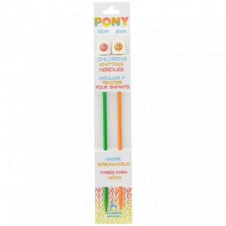 Pony Children Knitting Pins 18cm 4 mm - Smiley