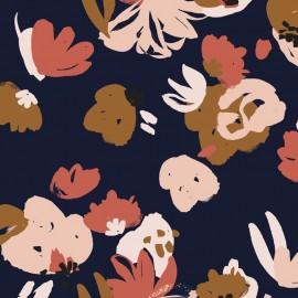 Viscose fabric - Posie blue Atelier brunette x 10cm