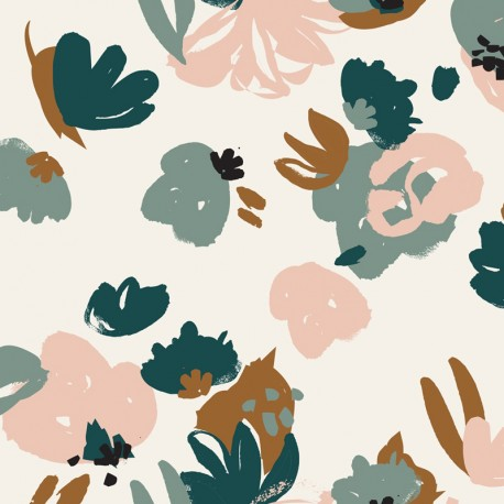Viscose fabric - Posie green Atelier brunette x 10cm