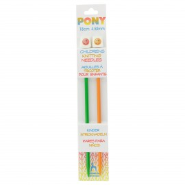 Pony Children Knitting Pins 18cm 4,5 mm - Smiley